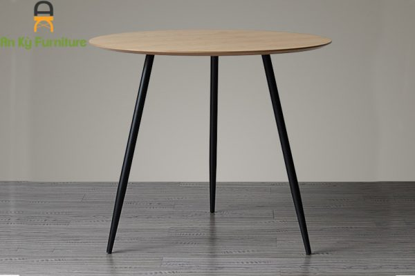 Bàn Cafe Aster kích thước 80x80 mặt gỗ vener chân sắt sơn tĩnh điện của Nội Thất An Kỳ