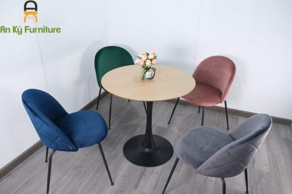 Combo Bộ Bàn Ăn Tulip L195 của Nội Thất An Kỳ , ghế ăn bọc nệm vải , chân sắt sơn tĩnh điện