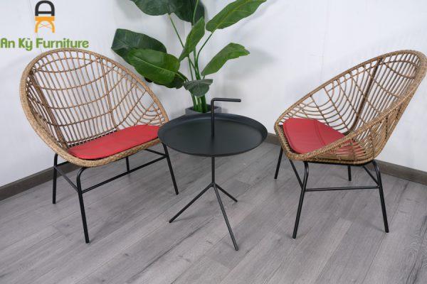 Ghế Cafe Lena của Nội Thất An Kỳ - Ankyfurni với chất liệu khung sắt sơn tĩnh điện , bọc nhựa giả mây