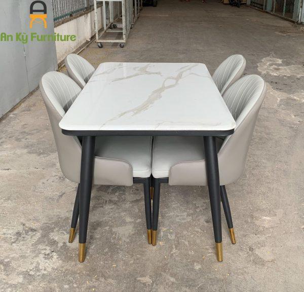 Combo Bàn Ăn Aster của Nội Thất An Kỳ - Ankyfurni với chân sắt sơn tĩnh điện , mặt bàn đá cẩm thạch , kích thước 80x130
