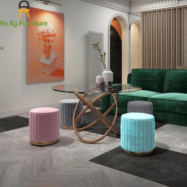 Ghế đôn sofa Mallow của Nội Thất An Kỳ chân thép mạ vàng , nệm bọc vải nhung cao cấp