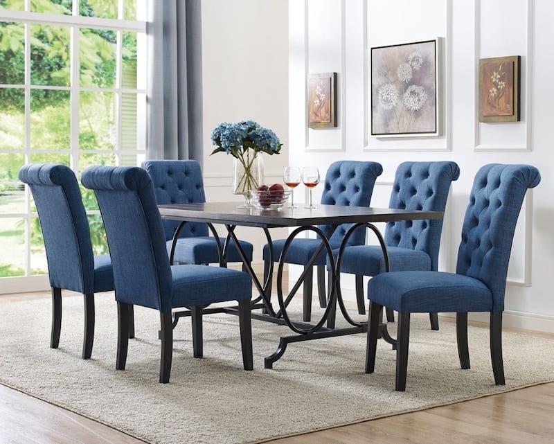 Bàn ăn 6 ghế màu xanh với nệm nhung cao cấp