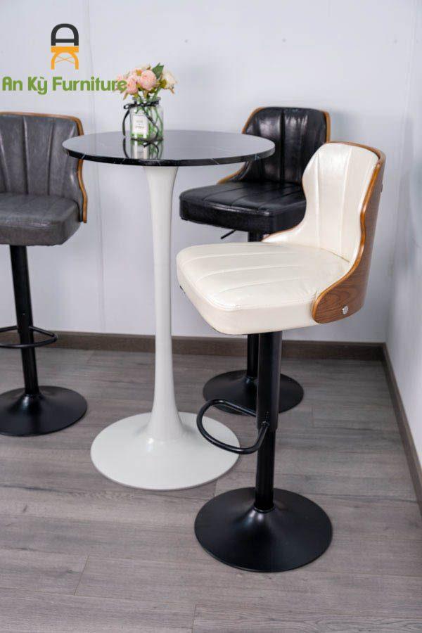 Ghế Bar Cafe JB-038 Chân Sắt Sơn Tĩnh Điện Mặt Gỗ Plywood của Nội Thất An Kỳ