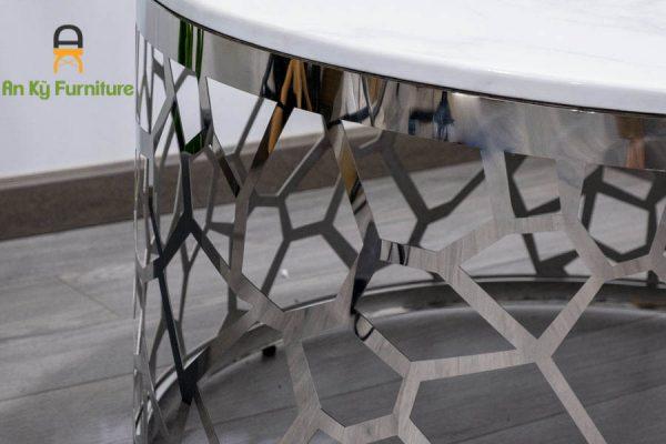Bàn Trà Sofa 622 Của Nội Thất An Kỳ - Ankyfurni với chân bàn inox 304 mạ , Mặt đá thiêu kết