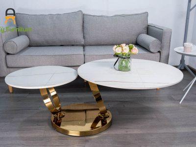 Bàn Trà Sofa Xoay TSX360 Của Nội Thất An Kỳ - Ankyfurni , chân inox mạ vàng , mặt đá thiêu kết