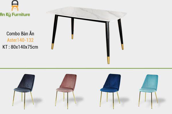 Combo bàn ăn aster140-132 của Nội Thất An Kỳ - AnKyFurni với chất liệu chân bàn sắt sơn tĩnh điện , mặt đá thiêu kết , chân ghế inox mạ vàng , thân ghế được bọc chất liệu vải nhung