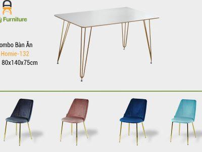 Combo bàn ăn Homie-132 với chất liệu chân inox mạ vàng , mặt MDF , thân ghế được bọc vải nhung cao cấp của Nội Thất AN Kỳ