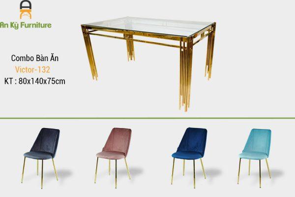 Combo bàn ăn Victor-132 với chất liệu chân inox mạ vàng , mặt kính cường lực , thân ghế được bọc vải nhung cao cấp của Nội Thất AN Kỳ