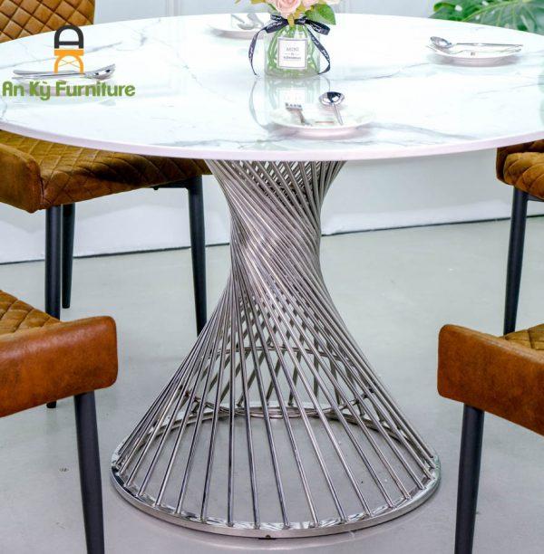 Combo bàn ăn CA-375 với chân inox mặt đá cosima của Nội Thất An Kỳ