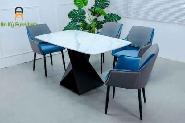 Combo bàn ăn Olwen109 của Nội Thất An Kỳ - Ankyfurni với chất liệu chấn sắt sơn tĩnh điện mặt đá thiêu kết