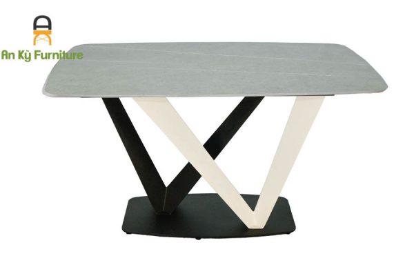 bàn ăn chân sắt sơn tĩnh điện mặt đá thiêu kết vera 208 của Nội Thất An Kỳ - Ankyfurni