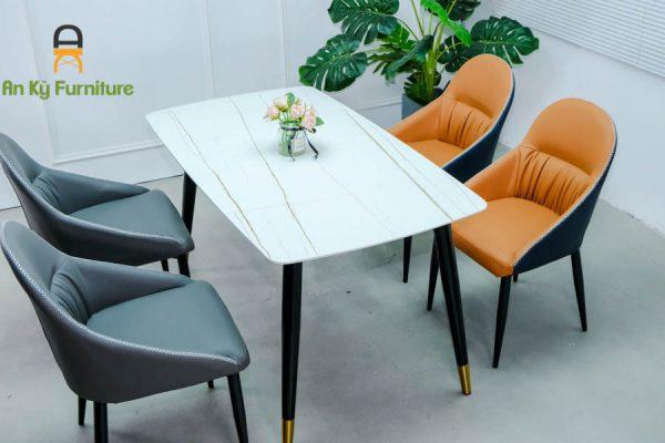 Combo bàn ăn Aster162 của Nội Thất An Kỳ - Ankyfurni với chất liệ chân sắt sơn tĩnh điện mặt đá thiêu kết