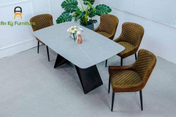 Combo bàn ăn Adela375 Của Nội Thất An Kỳ - Ankyfurni Với Mặt Đá Thiêu Kết Chân Sắt Sơn Tĩnh Điện