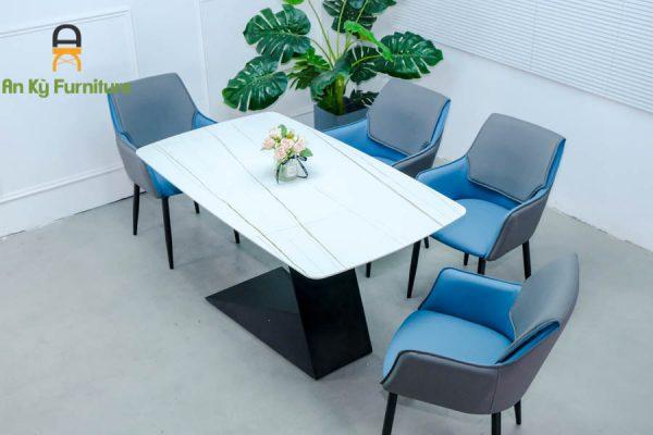 Combo bàn ăn Leo109 Của Nội Thất An Kỳ - Ankyfurni với chất liệu chân sắt sơn tĩnh điện , mặt đá thiêu kết
