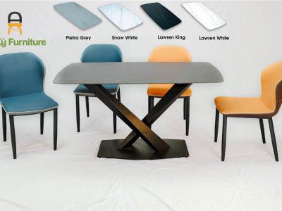 Combo bàn ăn Stratos182 của Nội Thất An Kỳ với chất liệu chân sắt sơn tĩnh điện , mặt đá thiêu kết