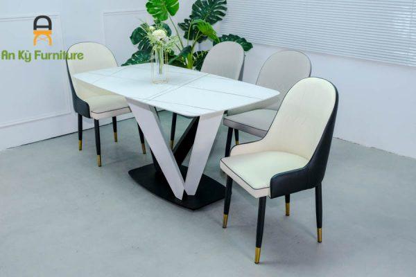 Combo bàn ăn vera622 của Nội Thất An Kỳ với chất liệu Sắt sơn tĩnh điện mặt đá thiêu kết