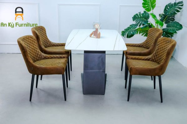 Combo bàn ăn Leo375 của Nội Thất An Kỳ - Ankyfurni với chất liệu sắt sơn tĩnh điện mặt đá thiêu kết