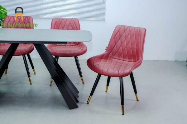 Combo bàn ăn Audrey117 Của Nội Thất An Kỳ-Ankyfurni với chất liệu chân sắt sơn tĩnh điện mặt đá thiêu kết