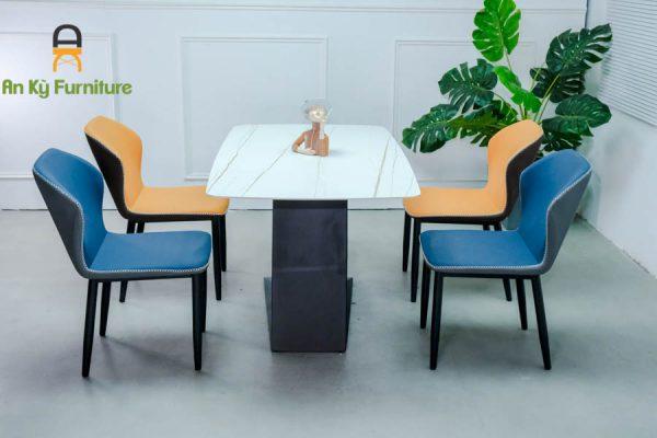 Combo bàn ăn Leo182 của Nội Thất An Kỳ - Ankyfurni với chất liệu chân sắt sơn tĩnh điện , mặt đá thiêu kết , mặt nệm vải simili