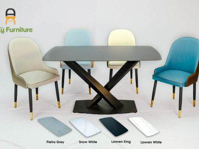 Combo bàn ăn Stratos622 của Nội Thất An Kỳ - Ankyfurni với chất liệu chân sắt sơn tĩnh điện mặt đá thiêu kết