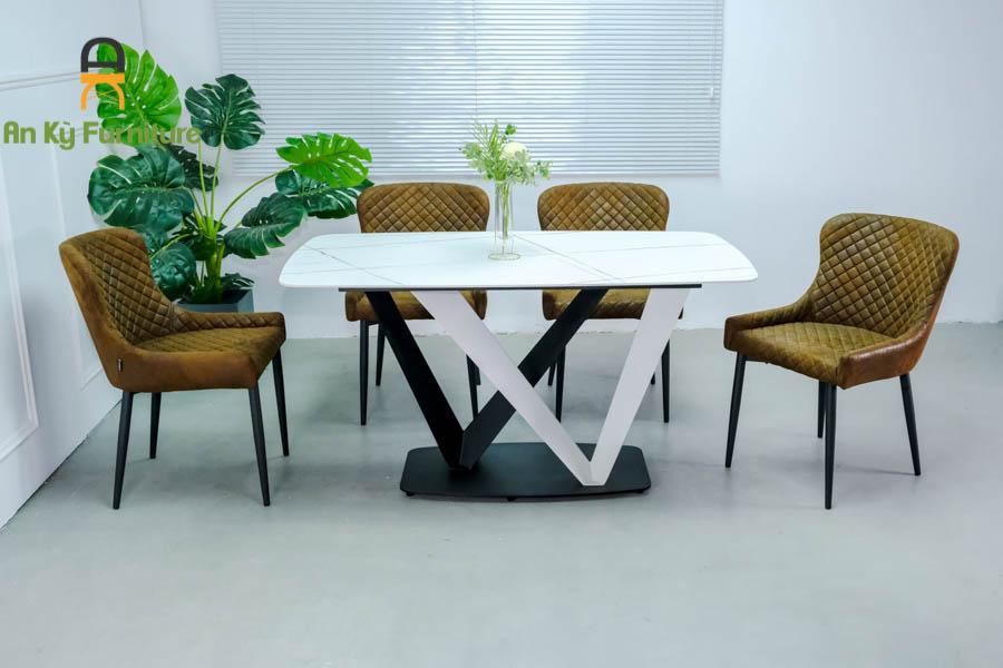 Combo Bàn Ăn Vera375 Mặt Đá Thiêu Kết dành cho 1 bàn 4 ghế