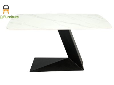 bàn ăn chân sắt sơn tĩnh điện mặt đá thiêu kết Leo 206 của Nội Thất An Kỳ - Ankyfurni