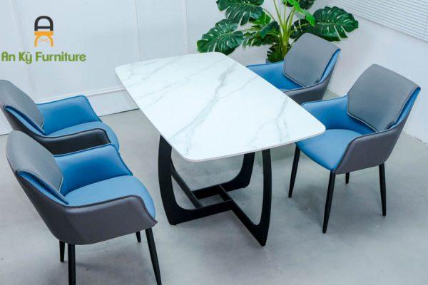 Combo bàn ăn Keva109 Của Nội Thất An Kỳ - Ankyfurni với chất liệu chân sắt sơn tĩnh điện , mặt đá thiêu kết , mặt nệm simili