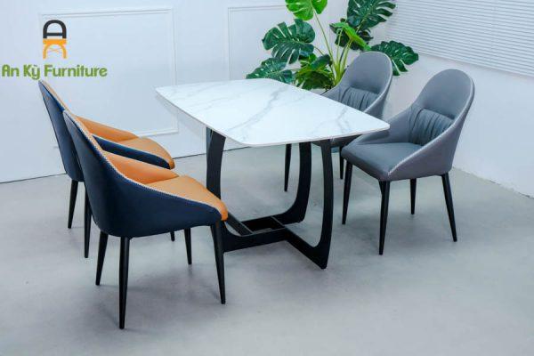 Combo bàn ăn keva162 của nội thất an kỳ - ankyfurni với chất liệu chân sắt sơn tĩnh điện mặt nệm simili