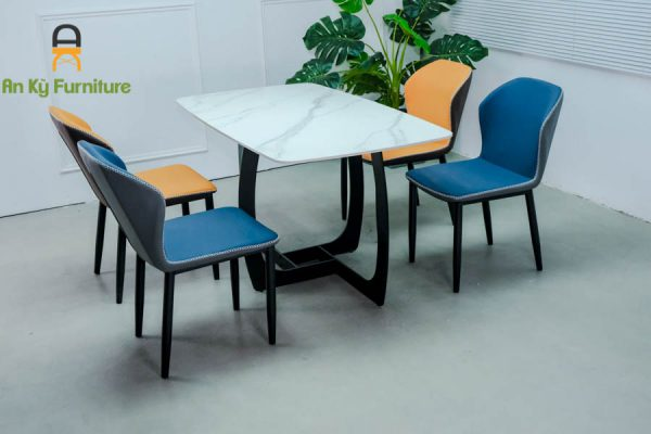 Combo bàn ăn Keva182 của Nội Thất AN Kỳ với chất liệu chân sắt sơn tĩnh điện , mặt đá thiêu kết