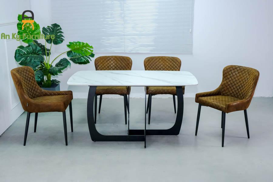 Combo Bàn Ăn Keva375 Mặt Đá Thiêu Kết dành cho 1 bàn 4 ghế