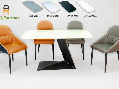 Combo bàn ăn Leo162 Của Nội Thất AN Kỳ - Ankyfurni với chất liệu chân sắt sơn tĩnh điện , mặt đá thiêu kết , mặt nệm similii