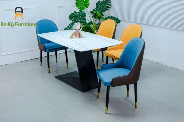 Combo bàn ăn leo622 của nội thất an kỳ - ankyfurni với chất liệu chân sắ sơn tĩnh điện - với mặt đá thiêu kết