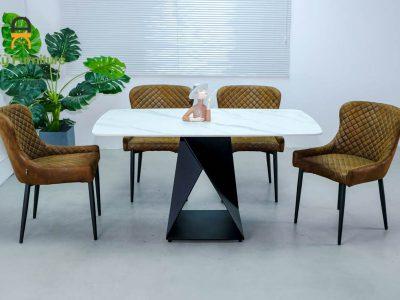 Combo bàn ăn olwen375 của Nội Thất An Kỳ với chất liệu chân sắt sơn tĩnh điện mặt đá thiêu kết