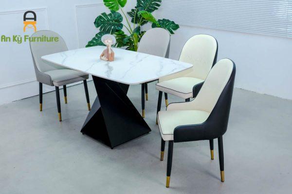 Combo bàn ăn Olwen622 của nội thất an kỳ - ankyfurni với chất liệu chân sắt sơn tĩnh điện , mặt đá thiêu kết