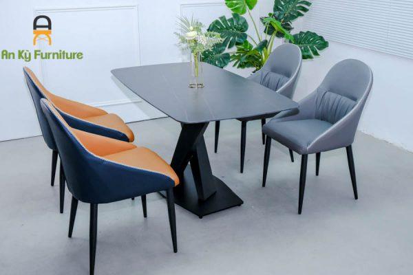 Combo bàn ăn Stratos162 của Nội Thất An Kỳ - Ankyfurni với chất liệu chân sắt sơn tĩnh điện mặt đá thiêu kết