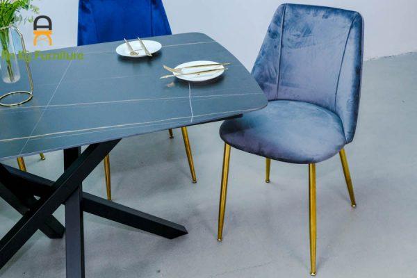 Combo bàn ăn Xavia-132 của Nội Thất An Kỳ - Ankyfunii với chất liệu chân sắt mặt đá thiêu kết 80x140