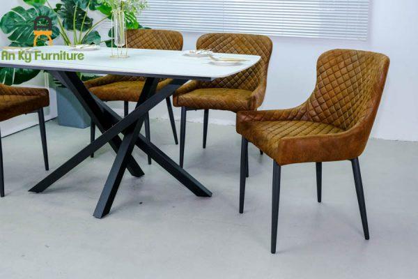 Combo bàn ăn Xavia-375 của Nội Thất An Kỳ - Ankyfunii với chất liệu chân sắt mặt đá thiêu kết 80x140