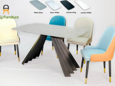 Combo bàn ăn Audrey622 của Nội Thất AN kỳ với chất liệu chân sắt sơn tĩnh điên mặt đá thiêu kết