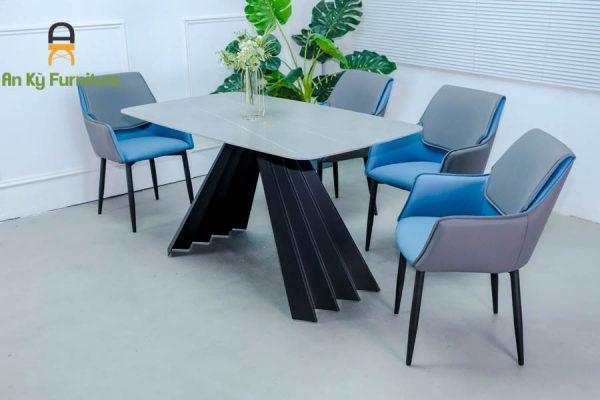 Combo bàn ăn Audrey109 Của Nội Thất An Kỳ - Ankyfurni với chất liệu chân sắt sơn tĩnh điện , mặt đá thiêu kết