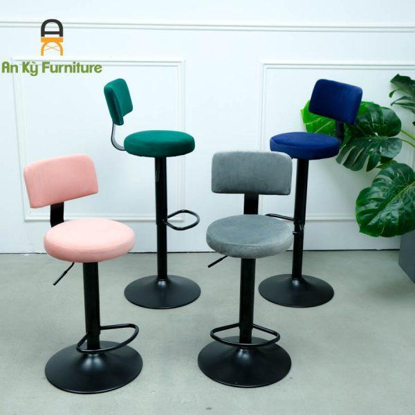 Ghế Bar Cafe JB-063A Của Nội Thất An Kỳ - Ankyfurni với chất liệu chân sắt mạ nệm bọc vải nhung