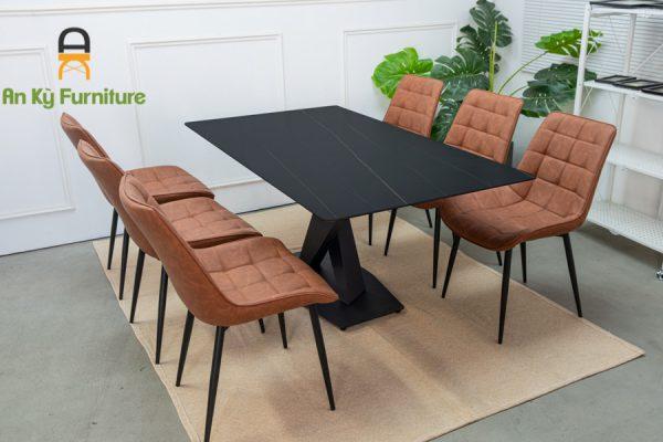 Combo Bàn Ăn Stratos191 của Nội Thất An Kỳ Ankyfurni dành cho 1 bàn 6 người với chất liệu chân sắt sơn tĩnh điện , mặt đá thiêu kết , ghế nệm bọc vải simili