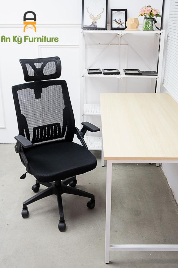 Ghế Làm Việc Văn Phòng Chân Xoay JS-873D của Nội Thất An Kỳ với chất liệu nhựa PP , lưng lưới nệm , có thể nâng hạ được
